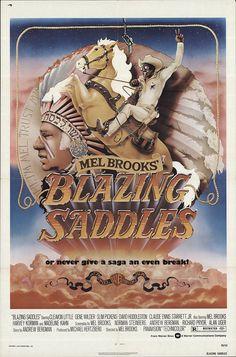 "Blazing Saddles 1974 Authentic 27"" x 41"" Original Movie Poster Fine, Very Good Slim Pickens Western U.S. One Sheet"