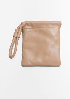 & Other Stories image 1 of Drawstring Leather Pouch in Powder Pink