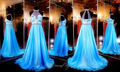 light-blue-chiffon-prom-dress-with-high-illusion-neckline-lace-sweetheart-bodice-115dj0118600 at Rsvp Prom and Pageant, Atlanta, Georgia