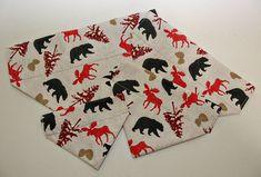 Items similar to Forest Bears and Moose Dog Bandana/ Cat Bandana/ No Tie Bandana on Etsy Cat Bandana, Forest Animals, Bandanas, Moose, Bears, Dog Cat, Tie, Pattern, Woodland Creatures
