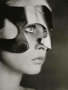 Twiggy wearing mask by Emanuel Ungaro, Vogue, 1968 (Richard Avedon).