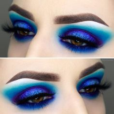 Lovely Blue Makeup Looks This Now My Beauty Note - Lovely Blue Makeup Looks This Now January In Case You Have Blue Eyes You Should Prevent Wearing Blue Eye Make Up Thats Excessively Intense In Order To Stop Washing Out The All Natu Eye Makeup Art, Blue Eye Makeup, Eyeshadow Makeup, Blue Eyeliner, Eyeshadow Ideas, Mermaid Makeup Looks, Contouring Makeup, Sleek Makeup, Natural Eyeshadow