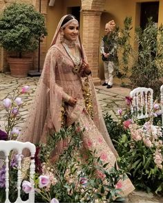 Bollywood actress Anushka Sharma in bridal look at Italy Indian Bridal Outfits, Indian Bridal Lehenga, Indian Bridal Fashion, Pakistani Bridal, Indian Dresses, Bridal Dresses, Wedding Dress, Pink Bridal Lehenga, Wedding Lenghas