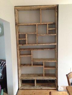 IDEA do similar style in alcoves but paint shelves light matt grey/beige  Scaffold board shelves (empty)