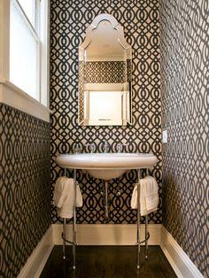 Small bathrooms.  Bold wallpaper.