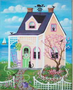 Magnolia Lane Cottage-Volkskunst-Holzschnitt