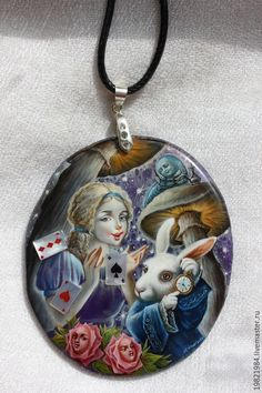Купить Чудесная страна Алисы! - темно-фиолетовый, сказка, лаковая миниатюра, живопись маслом