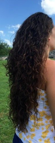 Caucasian, very healthy, dark Brown, curly Hair. Never permed, dyed, or any other chemicals used. Straightened maybe a handful of times a year. I do not blow dry it. I shampoo only twice a w...