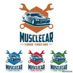 Vector: Muscle car logo, retro logo style, vintage logo