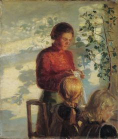 Anna Ancher, Two little girls being taught how to sew, 1910