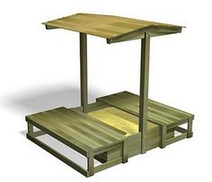 Roofed Covered Sandbox Sand box is 1.5m sq and holds approx. 0.6 cubic meters of play sand (sand not included). With sliding lids fully extended the overall dimensions are approx.  Length: 3.02m. Width: 1.65m. Height: 42cm. Overall height: 1.90m (roof).   Delivered part assembled. Note:  To half fill the covered sandpit with sand you will require 25-30 22kg bags of play grade sand, which you can purchase from your local DIY superstore.
