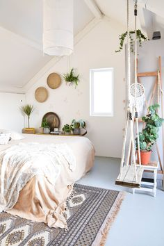 The most important thing for a small bedroom is using a single bed. And the last, the live plants will help to freshen your small bedroom. Stylish Bedroom, Cozy Bedroom, Modern Bedroom, Bedroom Decor, Cozy Living Rooms, Living Room Decor, Princess Room, Large Bedroom, Bedroom Vintage