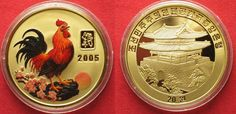 2005 Nordkorea NORTH KOREA 20 Won 2005 Lunar YEAR OF THE ROOSTER brass COLORED Proof # 94936 Proof