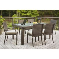 Hampton Bay Beverly 7-Piece Patio Dining Set with Beige Cushions-65-23377B - The Home Depot