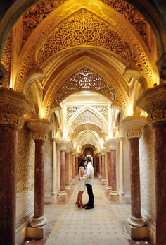 Romantic White and Gold engagement shoot in arabic style the Palace of Monserrate in Sintra Portugal Sintra Portugal, Romantic Places, Heated Pool, Engagement Shoots, Lisbon, Architecture Details, Palace, Swimming Pools, Villa