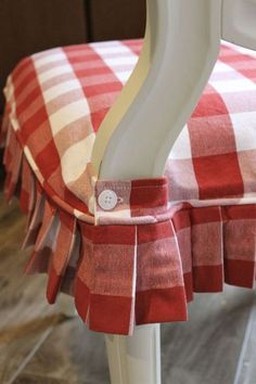 Red and White Buffalo Check Slipcovers - Slipcovers by Shelley - funda para silla Dining Chair Slipcovers, Chair Cushions, Dining Chairs, Kitchen Chairs, Club Chairs, Slipcover Chair, Kitchen Decor, Dining Chair Seat Covers, Furniture Slipcovers