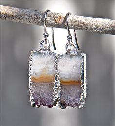 Silver amethyst earrings, amethyst slice earrings, amethyst jewelry, gifts for her, earrings for girls, genuine stone earrings, february by LolaBelleGems on Etsy
