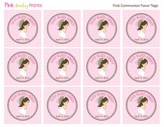A Favor de las niñas primera comunión por PinkMonkeyPrints en Etsy
