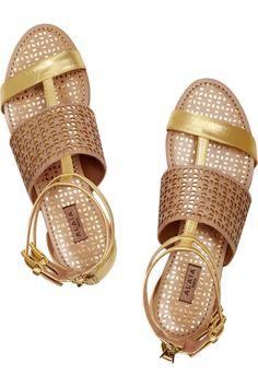 Alaïa|Metallic leather sandals |NET-A-PORTER.COM