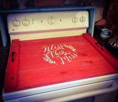 Farmhouse Stove Top Oven Cover Noodle Board, Stove Cover, Serving Tray, Sink Cover - Bless This Mess Farmhouse Decor, Asst Colors Clean Gas Stove Top, How To Clean Burners, Clean Stove Burners, Gas Stove Burner, Stove Top Oven, Glass Stove Top Cover, Sink Cover, Noodle Board, Red Kitchen Decor