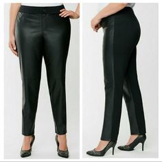 Lane Bryant Pants & Jumpsuits | Lane Bryant Faux Leather Front Ponte Knit Pants | Poshmark Knit Pants, Lane Bryant, Pant Jumpsuit, Jumpsuits, Leather Pants, Legs, Things To Sell, Black, Women