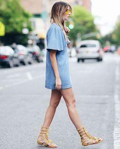 look gladiadora vestido jeans street style