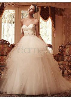 Herz-Ausschnitt Tüll Satin Mitte Rücken Prinzessin bodenlanges aufgeblähtes Brautkleider