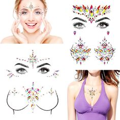 SHINEYES Self-adhesive Mermaid Face Gems Stickers, Rave Festival Face Jewels Crystal Rhinestone Temporary Tattoo Stickers DIY Crafts Gem for Body, Makeup, Festival, Carnival (4P 02) *** Want additional info? Click on the image. (As an Amazon Associate I earn from qualifying purchases)