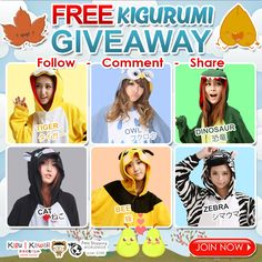 FREE Kigurumi Costume Pajamas Giveaway ♥(˘⌣˘ C) Get a chance to own one of these limited edition kigurumi from Kigu Kawaii! JOIN NOW ► http://on.fb.me/1OFKGUM We are giving away any of these comfortable kigurumi onesies for FREE! Tag 5 friends to increase chances of winning! Just follow the mechanics! 1 winner will receive 1 kigurumi of his/her own choice. Contest will run from November 12, 2015 - November 18, 2015. We will announce our winner on November 19, 2015.
