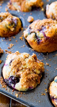My new favorite blueberry muffin recipe! Buttery and moist, these muffins are heavy on the brown sugar streusel and juicy blueberries.