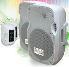 IN2108AU WHITE X2 Coppia cassa attiva 800 Watt USB SD - Casse acustiche amplificate attive diffusori karaoke impianto audio altoparlanti - Bianca / Bianche