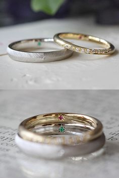 それぞれのデザインで制作した結婚指輪。内側の飾り留めをお揃いに。 [マリッジリング,marriage,wedding,ring,bridal,Pt900,K18 gold,オーダーメイド,イズ,ith]