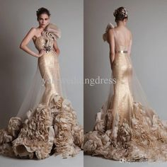 Discount 2014 Real Image One Shoulder Flowered Prom Dresses Mermaid Floor Length Evening Gowns Online with $153.93/Piece | DHgate