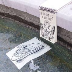 Fountain water-skiing #cartoonbombing  (à Zuiderkerkhof)