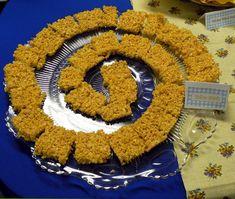 yellow brick road rice krispy treats, mini tornados (bugles)