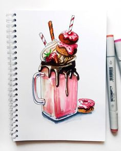 Marker + colored pencil instruction on vanilla arts - markers in art journa Copic Marker Art, Marker Kunst, Copic Art, Copic Markers, Art Drawings Sketches, Realistic Drawings, Cute Drawings, Tumblr Art Drawings, Food Sketch