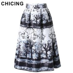 CHICING Tutu Skirt Women 2016 Summer Vintage Forest Tree Print High Waist Pleated Midi Skater Flared Knee Length Skirts A1602013