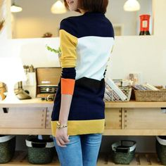 Raphael Color-block Cardigan (Orange/Mustard/Navy)