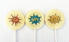 super hero lollipops