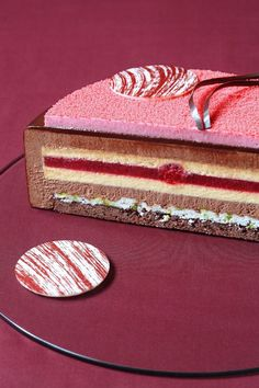 Slice of Contemporary Multi Layered Chocolate Raspberry Mousse Cake. Chocolate Raspberry Mousse Cake, Chocolate Orange, Chocolate Cupcakes, Orange Mousse, Modern Cakes, Baking And Pastry, Cake Shop, Sweets Recipes, Cake Recipes