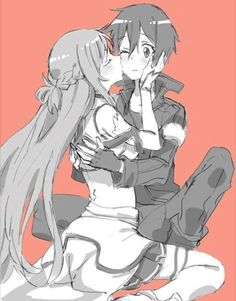 Pretty cute :D Anime Couples Drawings, Anime Couples Manga, Cute Anime Couples, Anime Girls, Sword Art Online Drawing, Sword Art Online Kirito, Sword Art Online Poster, Sao Kirito And Asuna, Sao Anime
