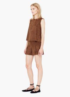 Sleeveless Round neck Stitched detail Back keyhole closure Side slits Flowy Shorts, Mango Fashion, Leather Shorts, Classy And Fabulous, Overall Shorts, Lady, High Fashion, Summer Outfits, Urban