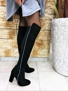 Stivali donna 2852 nero stivale gamba alta tacco medio strass argento moda  2018 a5ab72abe9a