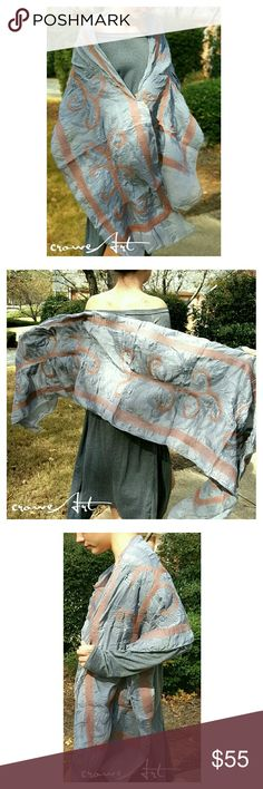 """Rusty Ferns Felted on 2 Layer Chiffon Wrap Looking for a scarf that will stand out in the crowd, make your simple outfit into a work of art? Look no further! This handcrafted wrap imported from Nepal is exactly what you're looking for!   Felted rusty fern vines woven into gorgeous double layered steel gray Chiffon, approx 12"""" X 72""""  ***PRICE IS FIRM, NO OFFERS*** Pomegranate Moon  Accessories Scarves & Wraps"""
