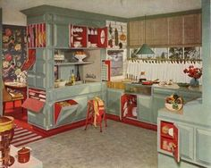 1950's Turquoise Kitchen. I love the two-tone cupboards. I never would have thought to paint the inside of cupboards!
