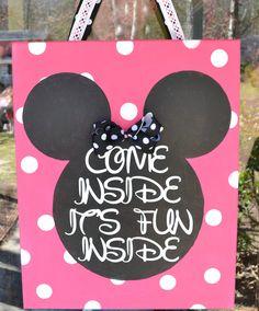 Minnie Mouse Canvas Door Hanger Come Inside It's Fun Inside.