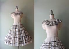 Vintage 1950s Dress / 50s Sheer White Dress / Ruffled Fifties Patio Dress