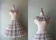 Vintage 1950s Dress / 50s Sheer White Dress / Ruffled Fifties Patio Dress