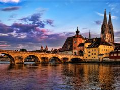 The town of Regensburg in Bavaria Germany