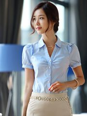 Kiểu áo sơ mi nữ dáng ôm tay ngắn phồng mang đến nét thời trang thanh lịch duyên dáng